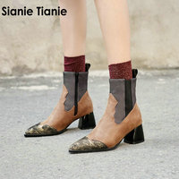 Sianie Tianie 2018 new patchwork fashion punk ankle boots for women fashion equestrian motorcycle marton boots big size 32 48 46