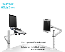 Dsupport OA-1S 360 Rotation Aluminum Alloy 2 in 1 Tablet PC Holder and Laptop Stand Holder Dual Arm Desktop Lapdesk Bracket