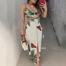 2019 Women Sex Hollow Out Butterfly Printed Long Dresses Women Fashion Clubwear