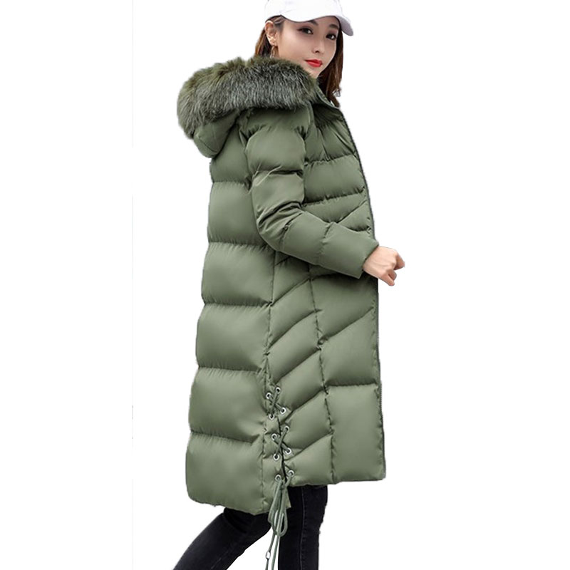 Women Plus Size Winter Jacket Coat Fur Collar Hooded Slim Cotton-Padded Jacket Parka Thickened Warm Down Cotton Outerwear W46 yi la 2017 new winter fur collar hooded down cotton coat fashion women s long coat cotton warm jacket parka plus size 3xl s869