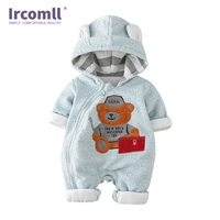 Ircomll Newborn Baby Rompers Infant Winter Clothes Cute Cartoon Bear Hooded Boy Girl Outwear Overalls Playsuit Baby Clothes