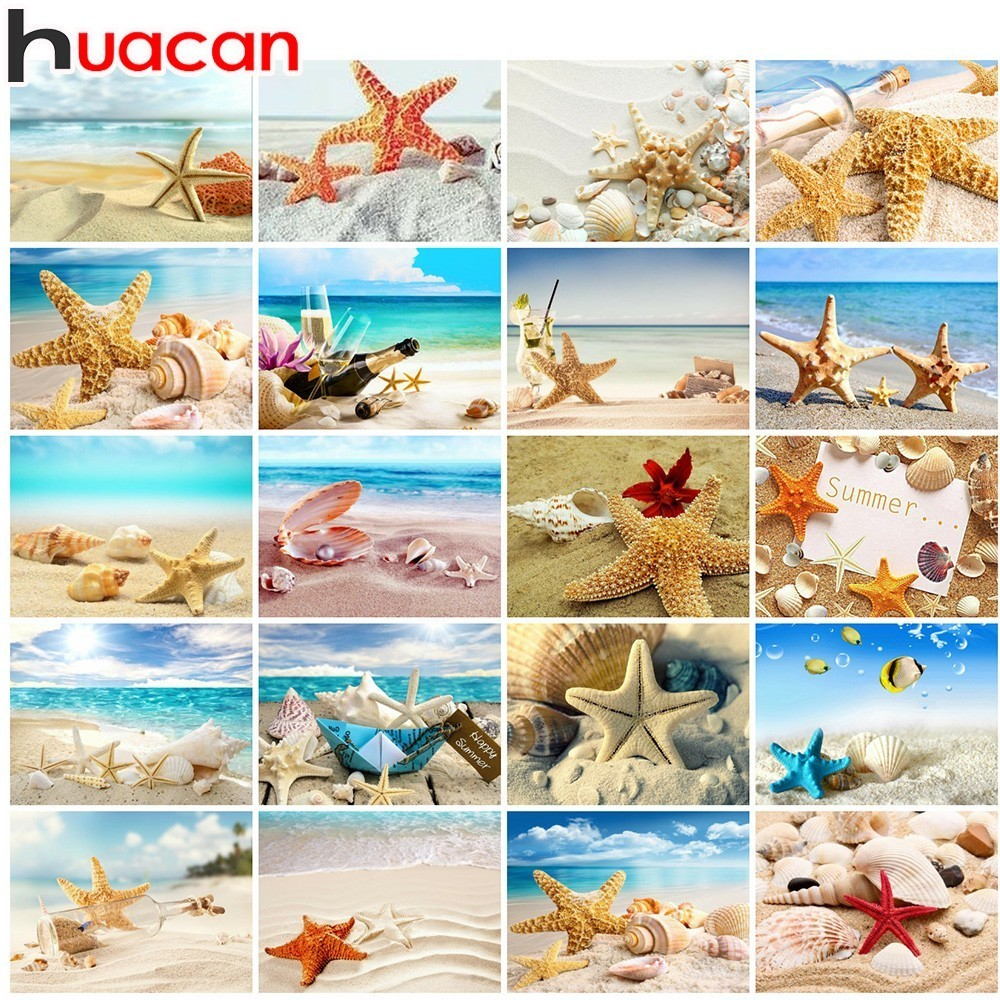 Huacan Diamond Painting Cross Stitch Sea Shell Starfish Scenery Home Decor Full Rhinestone Mosaic 5D Diamond Embroidery