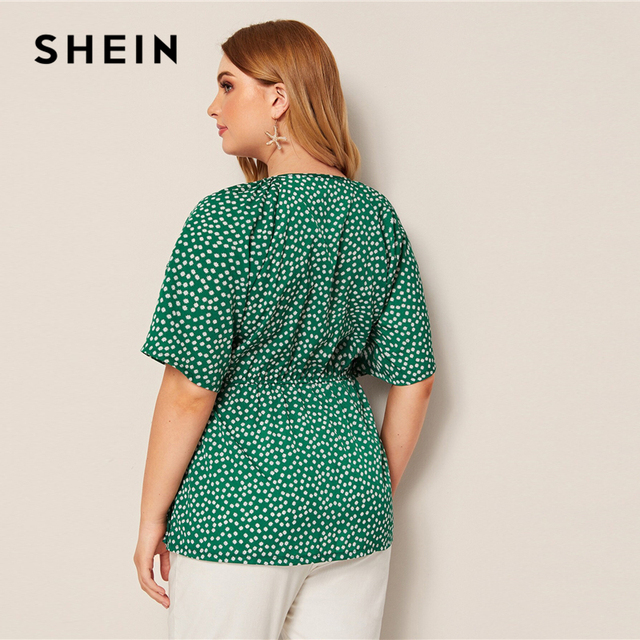 SHEIN Plus Size Green Daisy Floral Button Front Knot Peplum Top Blouse Women Round Neck Flare Sleeve Boho Summer Plus Blouses 2
