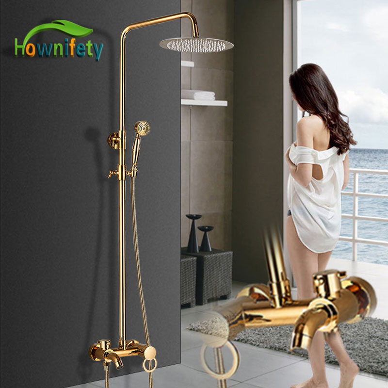 Bathtub Faucets Luxury Gold Brass Bathroom Faucet Mixer Tap Wall Mounted Hand Held Shower Head Kit Shower Faucet Sets-in Shower Faucets from Home Improvement    1