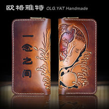 OLG.YAT handmade men wallets retro purse mens bag Genuine Vegetable tanned leather Hand-carved in a moment long zipper handbags