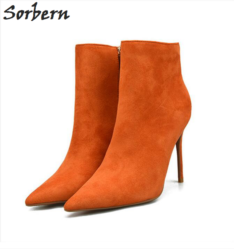 Sorbern Flock Cheap Women Winter Boots Ankle Boots For Women Botas Mujer 10CM 8CM Thin Heels Pointed Toe Party Boots Shoes fashion sorbern women boots high thin metal heels pointed toe zipper ladies party boots boots women zapatos mujer hot sale