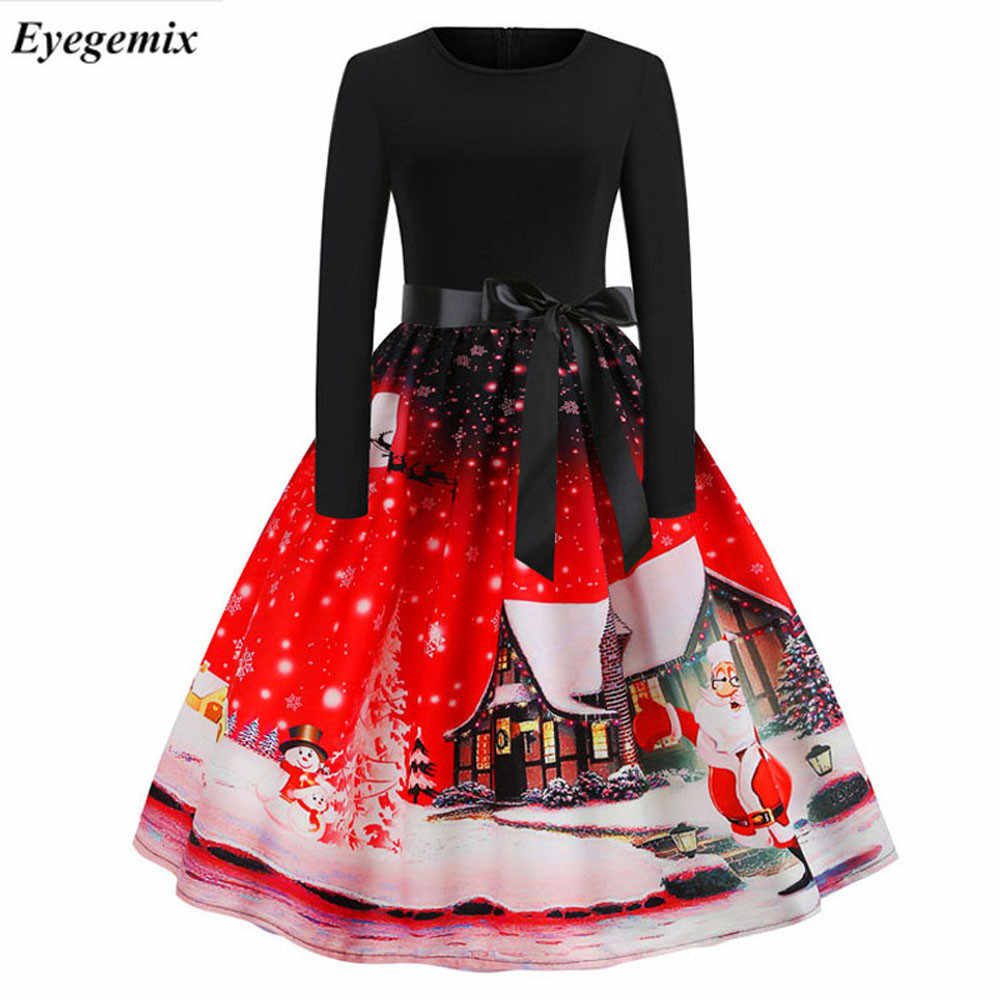 a16cbb45f348 Vintage Print Christmas Dresses Women Fashion 50S 60S Long Sleeve Party  Swing Dress Ladies Plus Size