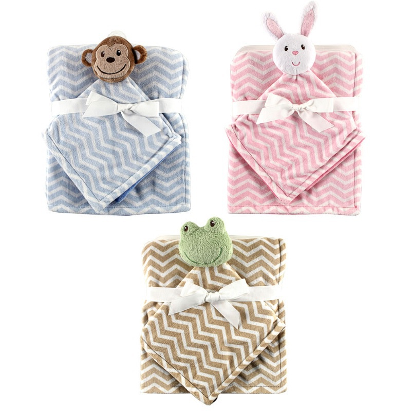 2pcs/set Hudson Baby Blanket Plush Security Newborn Holds Animal Friend Fleece Blanket Baby Blanket & Swaddling боди детское hudson baby hudson baby боди цыплёнок 3 шт бирюзово розовый