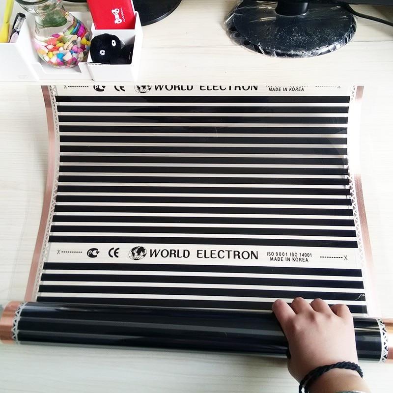 8m2 220 W/m2 Elektrische boden heizung elektrische infrarot film temperatur niedrigen elektrische carbon heizung film warmen boden matte-in Elektrische Heizkissen aus Heim und Garten bei  Gruppe 1