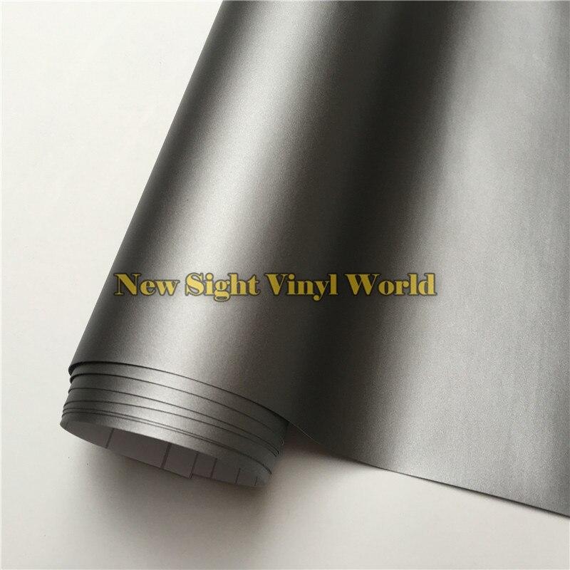 Haute Qualité Mat Gris Vinyle Film Rouleau Enveloppe De Voiture De Bronze gris Mat Vinyle Wrap Bubble Livraison Pour Voiture Style Taille: 1.52*30 m/Rouleau