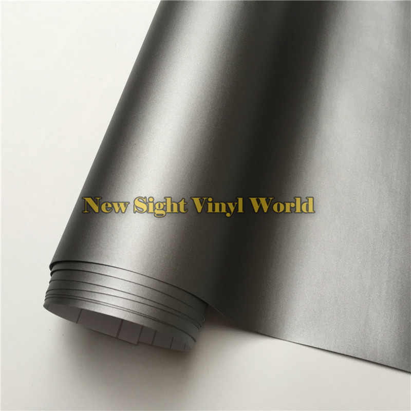 High Quality Matt Grey Vinyl Film Roll Car Wrap Gunmetal Grey Matte Vinyl Wrap Bubble Free For Car Styling Size: 1.52*30m/Roll