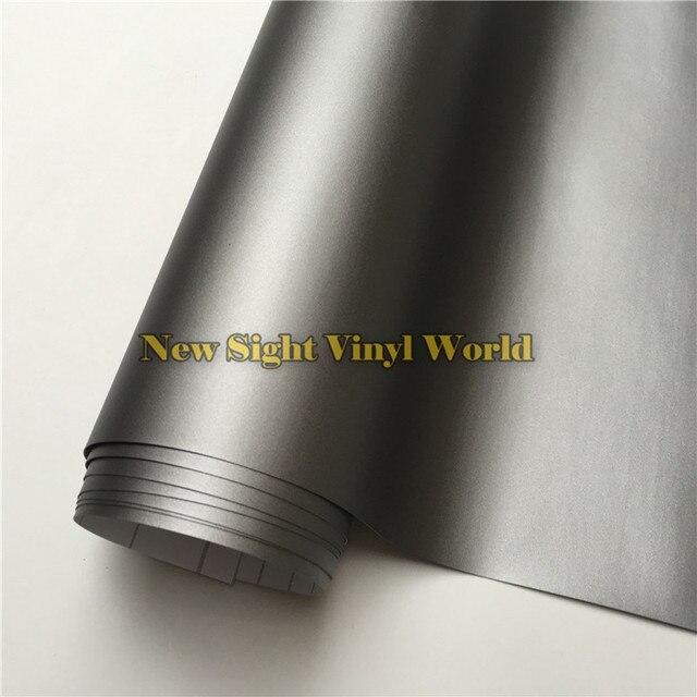 Wysokiej jakości matowa szara folia winylowa rolka Car Wrap Gunmetal szary matowy Vinyl Wrap bez pęcherzyków do stylizacji samochodów rozmiar: 1.52*30 m/rolka