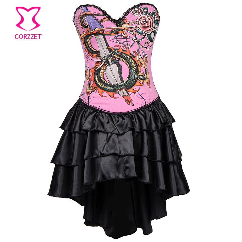 Black/Pink Cotton Dragon Print Sexy   Bustier   Dress   Corset   Steampunk Dresses Vintage Gothic Clothing Burlesque Costumes For Women