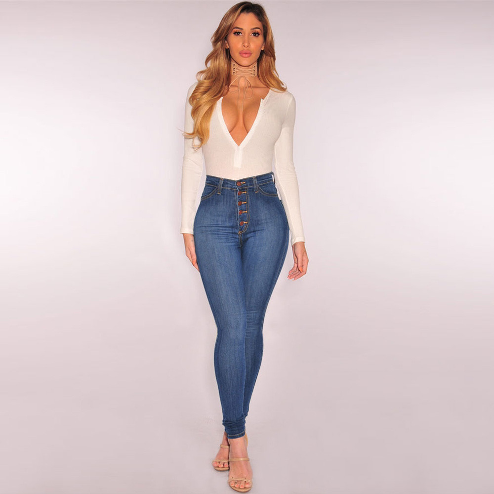 Women Spring Stretch High Waist Casual Straight-breasted Jeans Femme Slim Solid Denim Plus Size 3XL Jeans Pants 2019