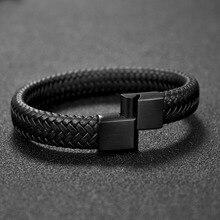 Jiayiqi Punk de la joyería de los hombres negro/marrón trenzado pulsera de cuero Cierre magnético de acero inoxidable brazaletes de moda 18,5/22/ 20,5 cm