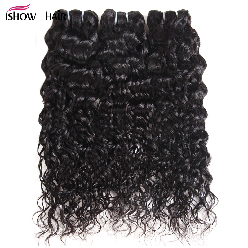 Ishow Malaysian Water Wave Bundles Natural Color Non Remy Hair Extension 8 28 100 Human Hair
