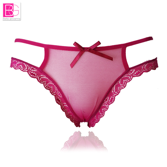 L'bellagiovanna Plus Size Sexy Women Hollow G String Thongs Female Transparent Bikini Panties Breathable Lingerie Underwear 8015
