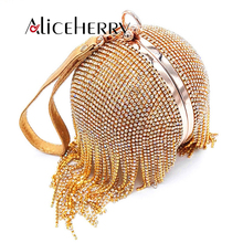 купить Gold clutch luxury evening clutch full diamond evening bags tassel chain party bag bling women round clutches purse по цене 2478.89 рублей