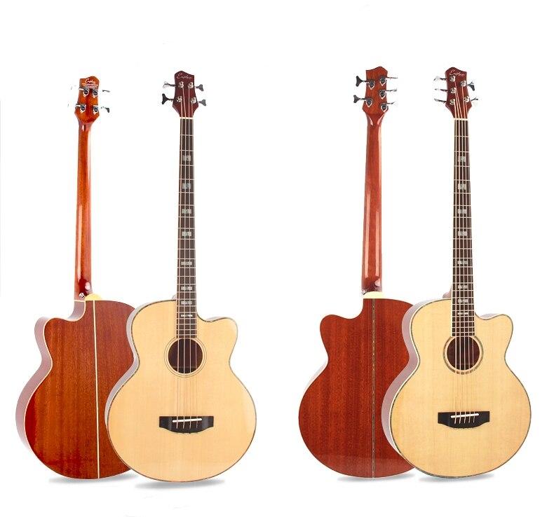 Acoustique Guitare Basse Top Solide Électrique Pick up Tuner 4 5 Cordes Picea Asperata Sapelli Lumière Coupe Électro