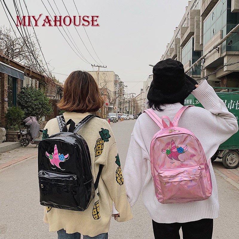 Image 3 - Miyahouse New Fashion Unicorn Design Leather Backpack For Feamle Reflective Laser Women Rucksack Large Capacity Lady School Bag-in Backpacks from Luggage & Bags