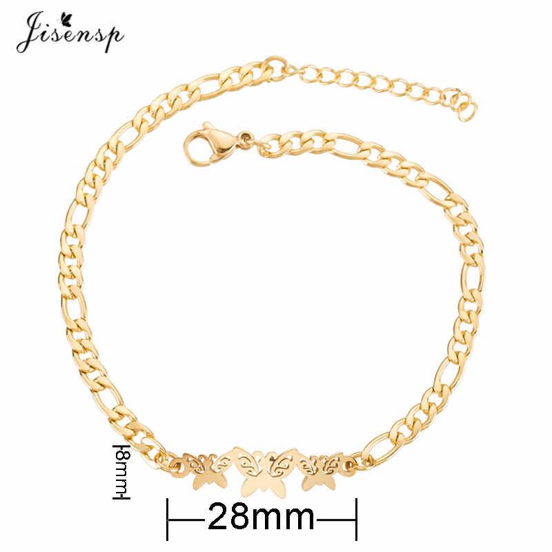 Jisensp Gold bransoletki ze stali nierdzewnej dla kobiet biżuteria codzienna bransoletka z talizmanem w kształcie motyla Femme prezent ślubny