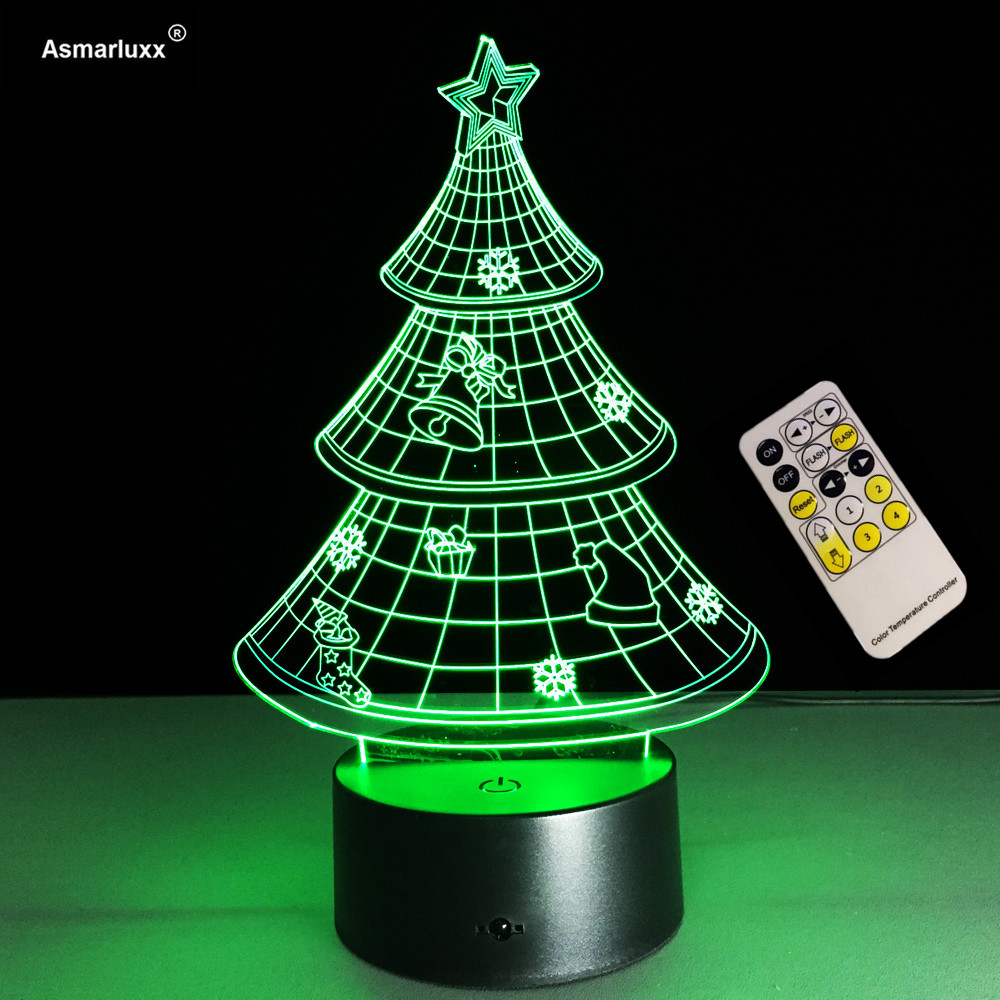 Remote Or Touch Control 3D Lamp Christmas Tree Night Light 7 Color Dimming 3D Table Light for Christmas Gift Holiday Light