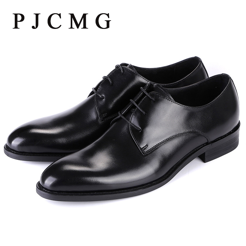 ФОТО PJCMG High Quality Pointed Toe Genuine Leather Lace-Up Solid Casual Black Wedding Men Flats Buckle Oxford Dress Oxfords Shoes