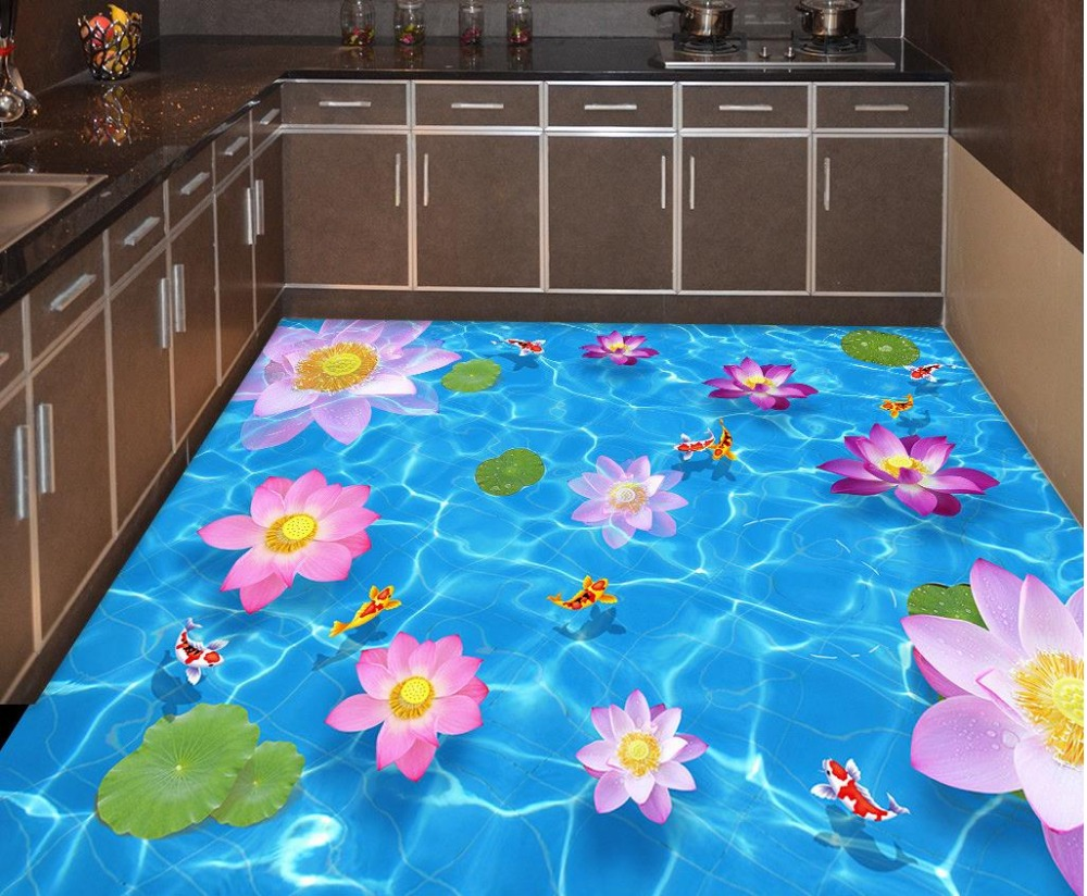 3d floor painting wallpaper Pool Lotus Fish Bathroom Kitchen 3D Floor pvc self-adhesive wallpaper 3d flooring 3d floor painting wallpaper 3d fish play pond jade carving floor pvc self adhesive wallpaper 3d flooring