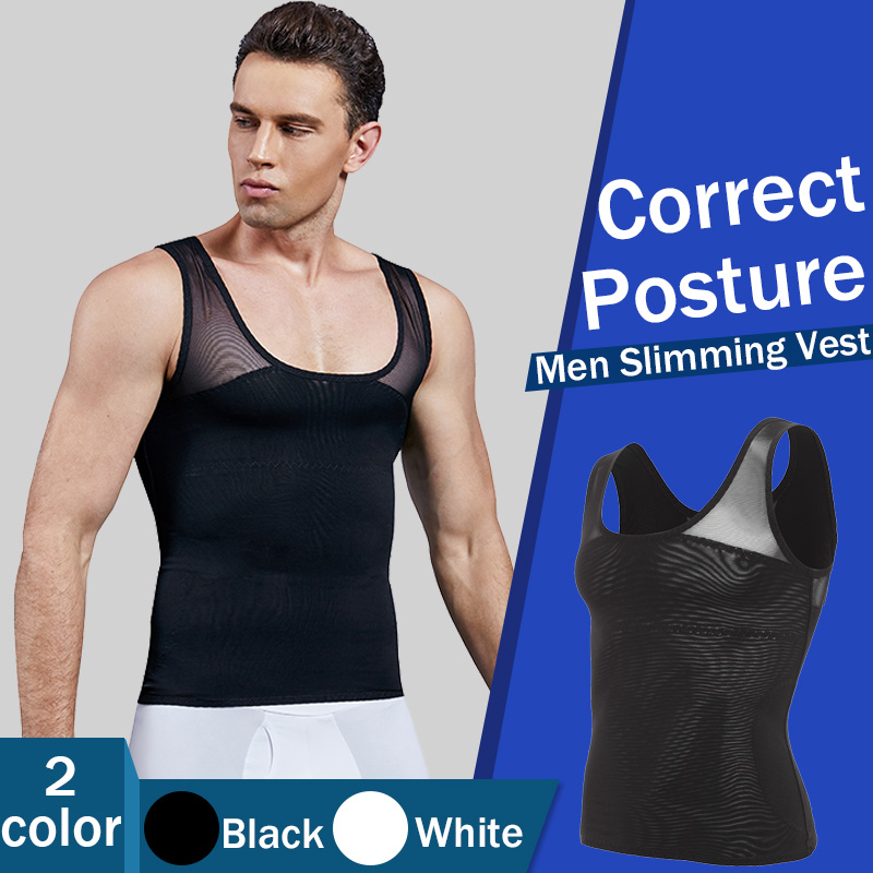 Mens Slim Compression Vest Undershirt Corset Body Shapers Belly Tummy Trimmer UK