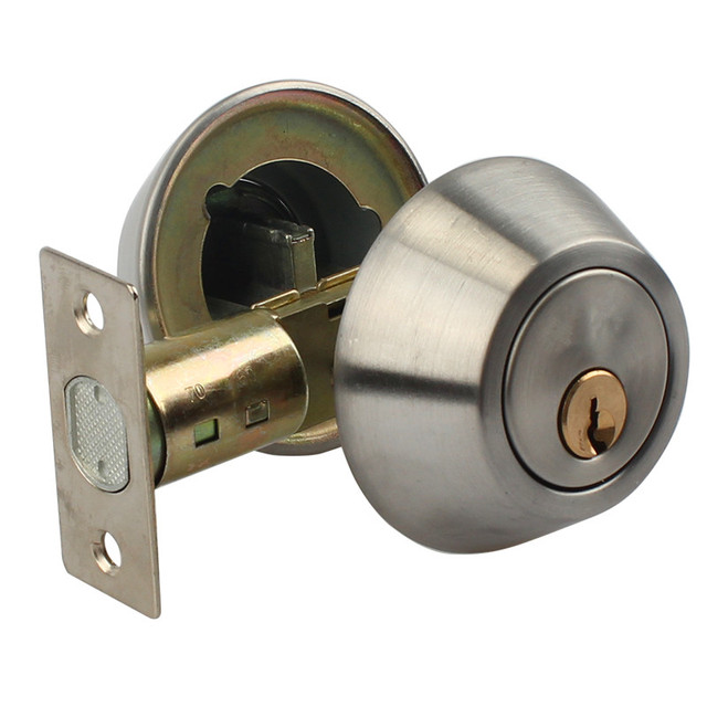 Stainless Steel Round Home Door Single Cylinder Or Double Cylinder Deadbolt  Keyed On One Side Or