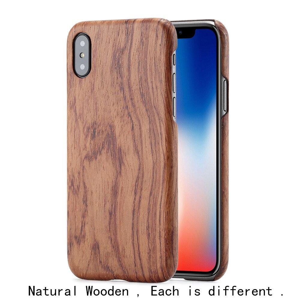 Coque de téléphone en bois naturel pour iphone X pour iphone 8 plus pour iphone 8 housse de protection en bambou/noyer/bois de rose/bois de glace noir/abricot