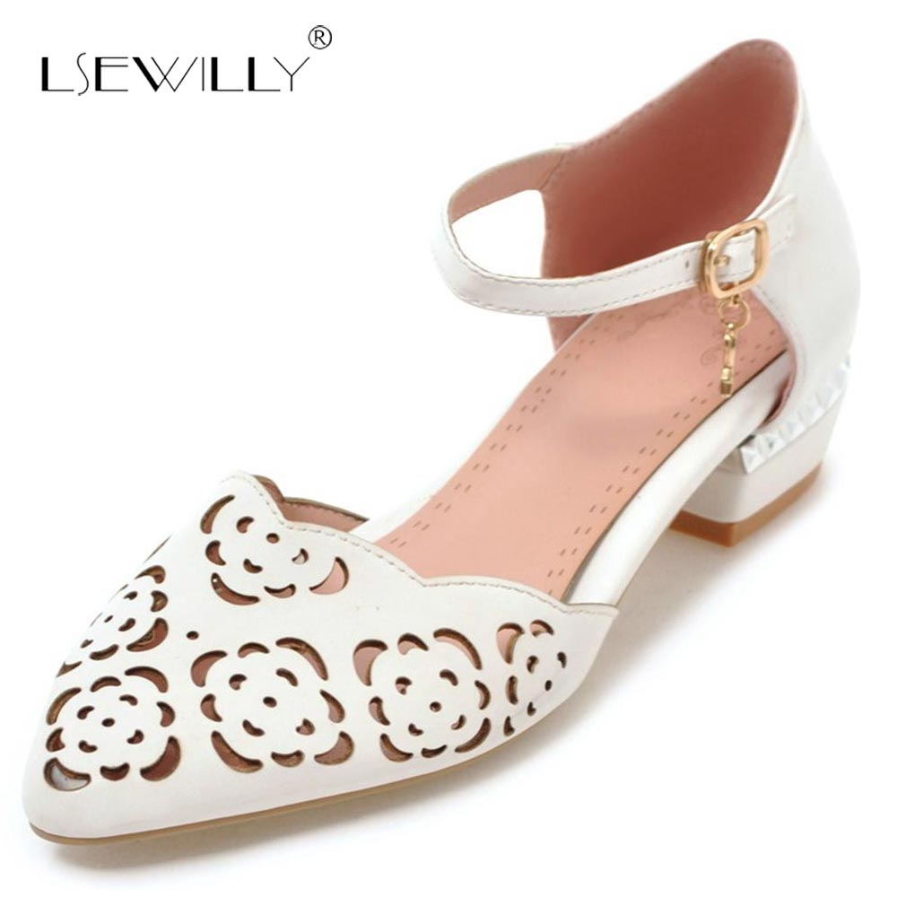 Lsewilly Spring Summer Women's Shoes Pointed Toe Sandals Thick Heel Single Shoes Woman Sandals Zapatos Mujer Size 31-43 S055 2018 spring summer low heel sandals pointed toe shallow mouth women shoes woman cozy casual shoes leisure single ladies shoes cy