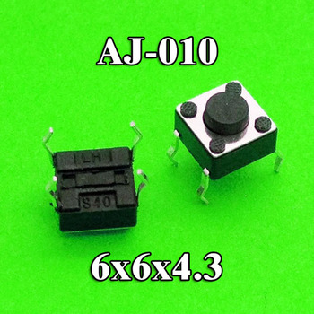 100Pcs 6 * 6 * 4.3 Pcb Panel Momentary Tactile Push Button Micro Switch 4 Pin Dip Light Touch 6x6x4.3mm Keys Keyboard image