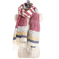 2017 Fashion New Winter Long Warm Cashmere Scarf For Women Wavy Stripe Spell Color Russian Thick
