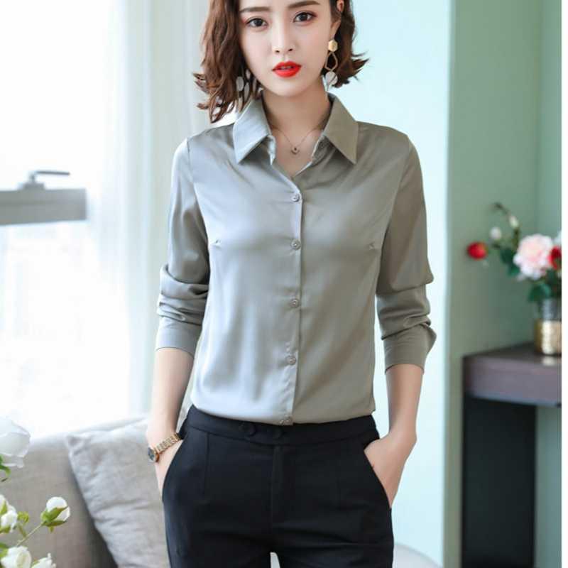 b9215b403eee59 Stinlicher 2019 New Women Office work shirts female OL elegant high quality  silk satin long sleeve