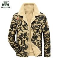 Camouflage Denim Jacket Men Winter Fur Fleece Men S Jacket Flight Military Coat Tactical Single Breasted