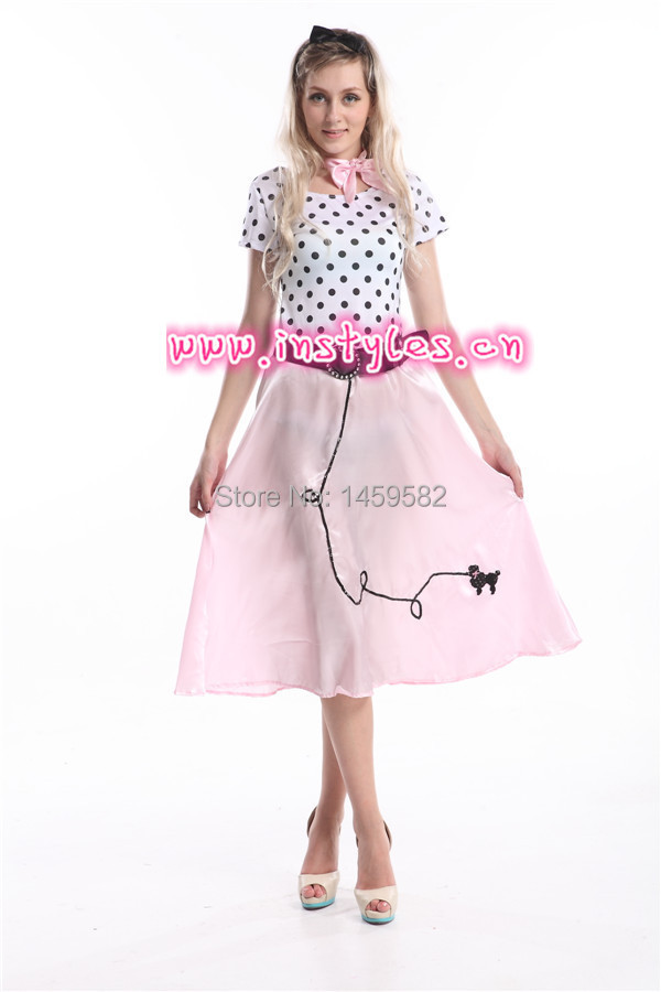 Free shipping Rock n Roll Dress 1950s Ladies Fancy Dress Party Costume  Grease Fifties Womens Costume Outfit zy392 - Fifties Costumes Promotion-Shop For Promotional Fifties Costumes