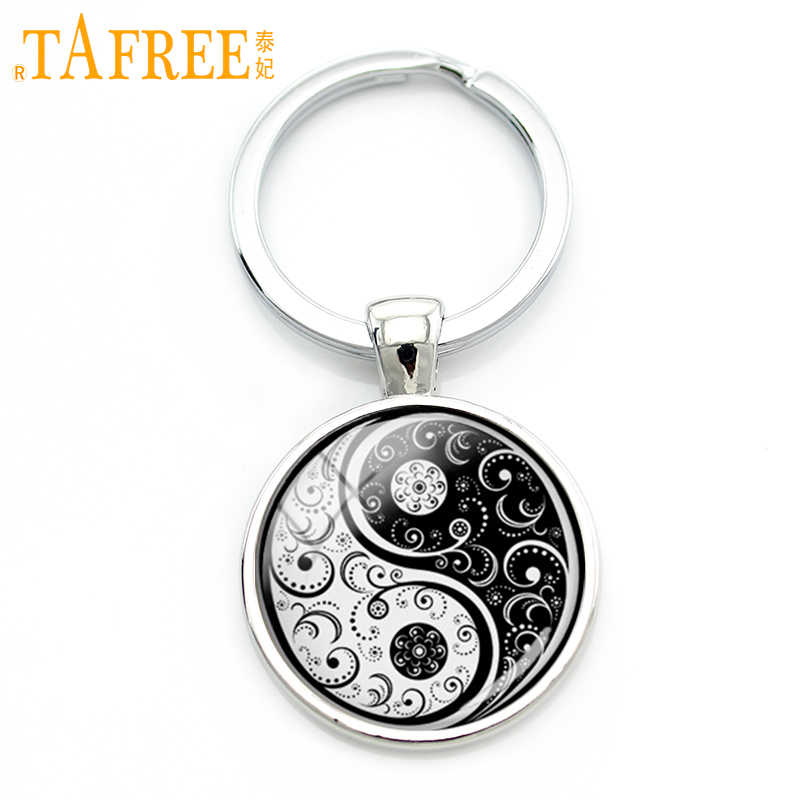 TAFREE Chinese Taoism sign ancient Eight Diagrams key chain vintage tai ji yin yang keychain charming jewelry accessories KC094