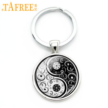 TAFREE Chinese Taoism sign ancient Eight Diagrams key chain vintage tai ji yin yang keychain charming jewelry accessories KC094(China)