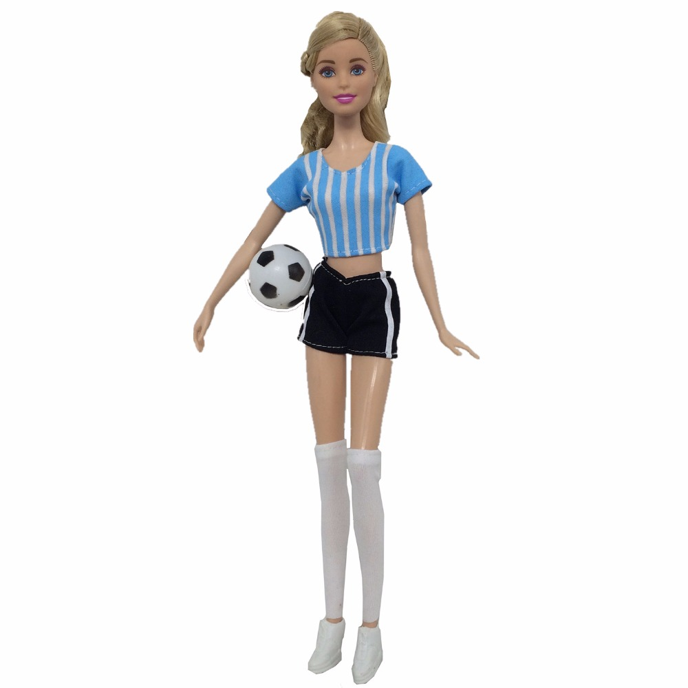 2018 Football World Cup Soccer Player Bobby Doll Fashion Sports Clothes Jacket and Pants Socks Girls Gift