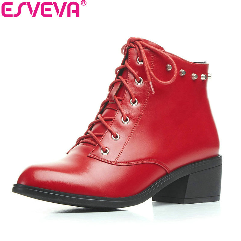 ESVEVA 2018 Western Style Women Boots Cow Leather + PU Square Med Heel Ankle Boots Pointed Toe Autumn Western Boots Size 34-39 vinlle women boot square low heel pu leather rivets zipper solid ankle boots western style round lady motorcycle boot size 34 43