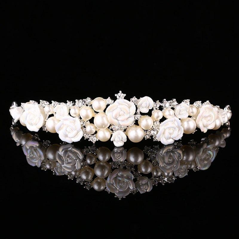 Мода Жемчуг, горный хрусталь обруч мягкий Керамика цветы невесты Диадемы Корона Свадебны ...