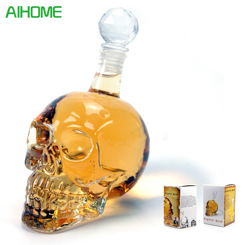 Creative Crystal Skull Head Whiskey Vodka Wine Decanter Bottle Whisky Glass Beer Spirits Cup Water Glass Bar Home