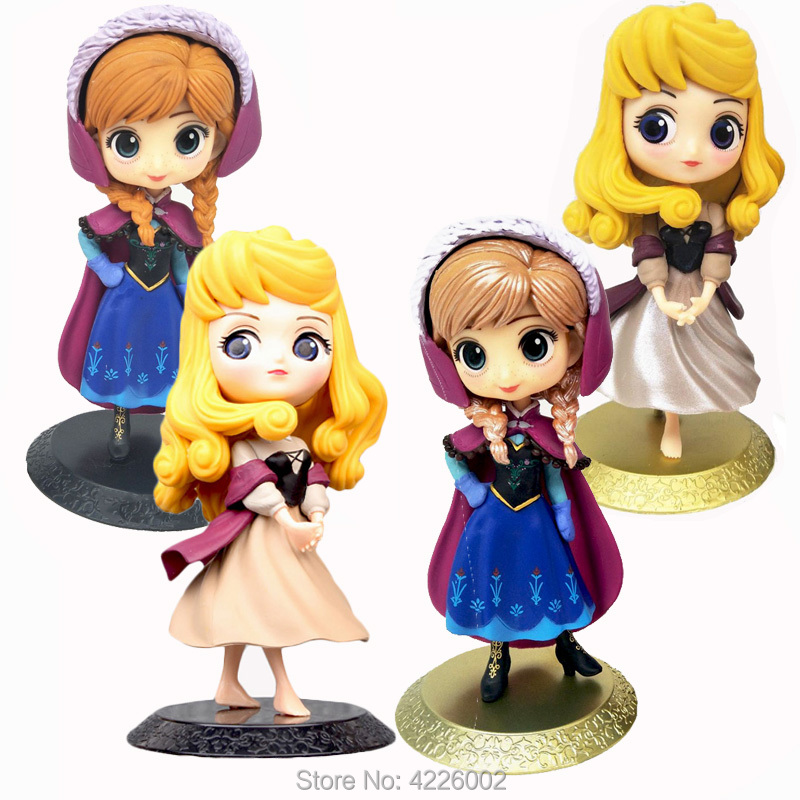 Sleeping Beauty Anna Princess Model PVC Action Figures Aurora Briar Rose Q posket Anime Figurines Collectible Dolls Kids Toys