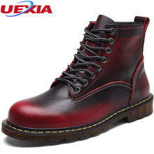 Boots Men Shoes Cow Split Leather Autumn Ankle Boots Men Rubber Sole Working  Motorcycle Fashion High Cut Male Casual Clearance