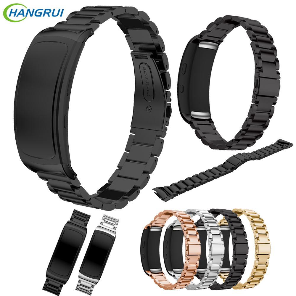 HANGRUI 316 steel watch band for Samsung Gear Fit 2 pro band wrist strap butterfly buckle for Gear Fit2 SM-R360 smart Bracelet stainless steel link bracelet wrist watchband strap for samsung gear fit 2 sm r360 fit2 pro sm r365 fitness tracker watch band