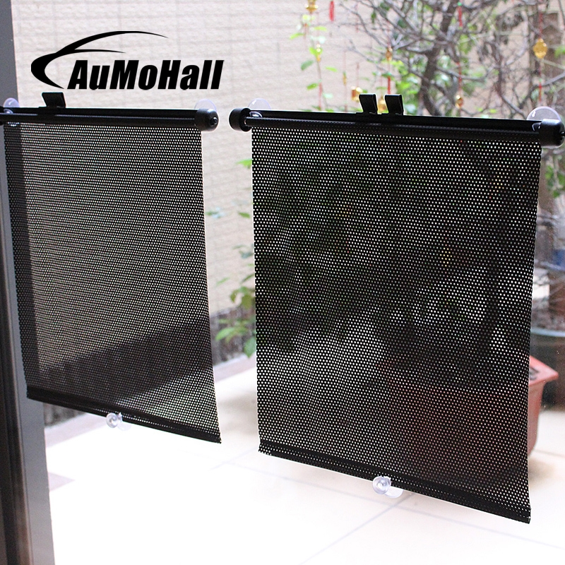 AuMoHall 1Pair 36cm Retractable Car Curtains Sun Block For Rear Side Window