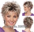 Новая Натуральная Блондинка mix Короткие вьющиеся Женщины Женщины Леди Волос Полный Парик бесплатная доставка