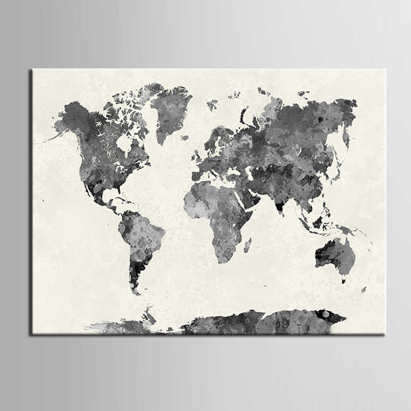 Unframed Canvas Printings Black and white map series Modern Style Cheap Pictures Decorative Wall Art  Prints Gift