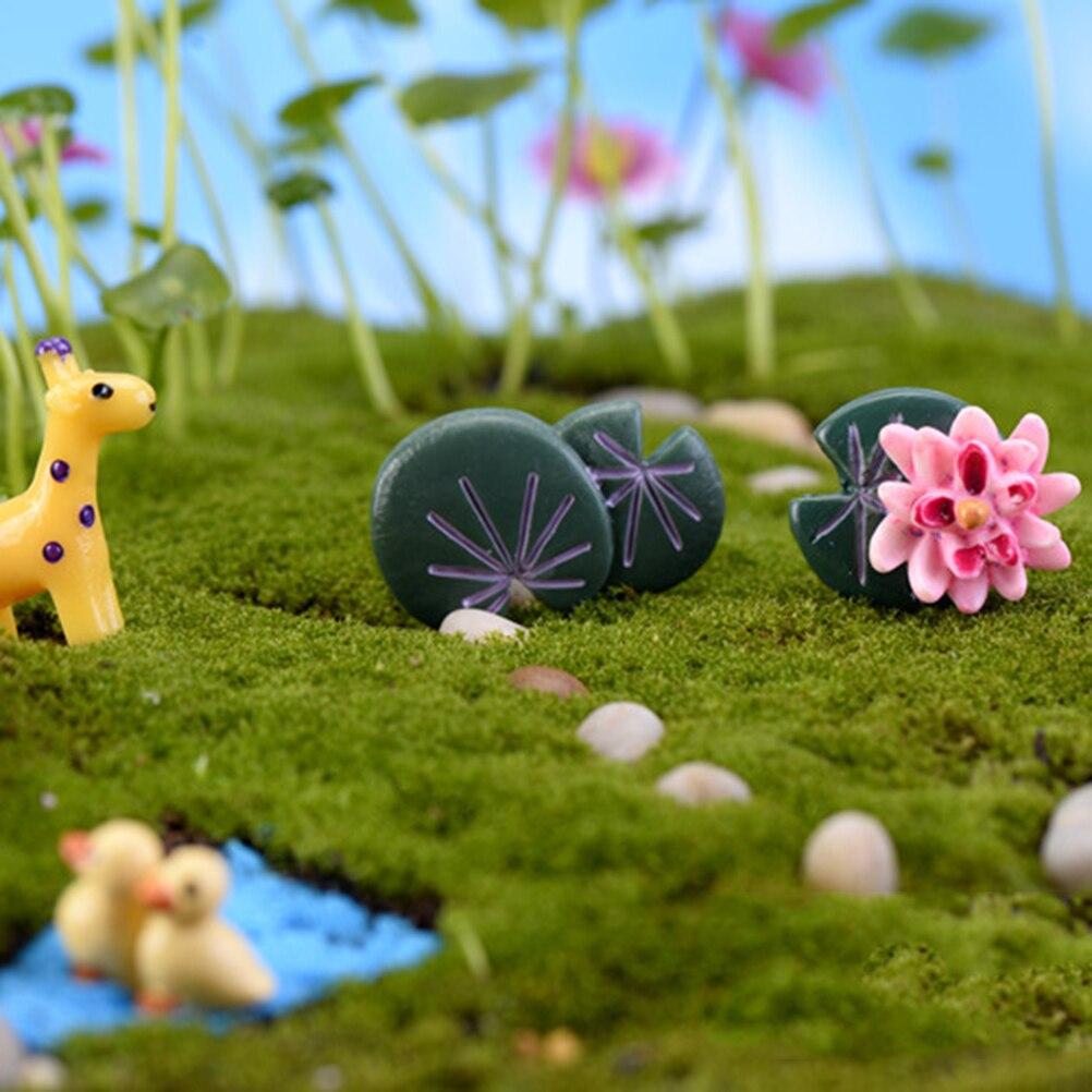 precioso mini craft micro miniatura de jardinera decoracin diy accesorios de hoja de loto flor de